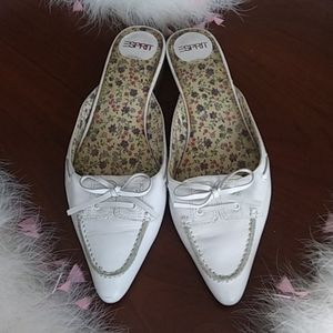 Esprit White Leather Mules Size 7.5 M